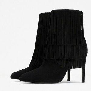Zara Fringed Heeled Booties